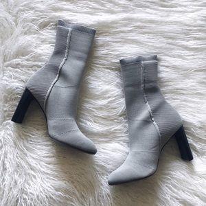 Rag & Bone Ellis Slim-Knit Ankle Sock Boots - Gray